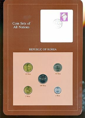 """Korea ~ 1971-1983 ~ 5 Coin Set ~ Bu ~ """"coin Sets Of All Nations"""""""