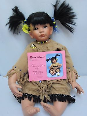 "Kelly RuBert ""Honey Bee"" Native American Porcelain Doll Numbered M859 with COA"
