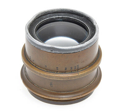 Old unmarked brass lens F:4.8 with iris diaphragm, not shown the focal length