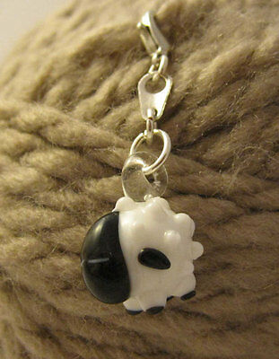 Sheep Stitch Marker with clasp - ( Lampwork )
