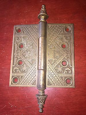 "Vintage 5""x5""  ORNATE   BRASS DOOR HINGE~VICTORIAN Branford Lock Co"