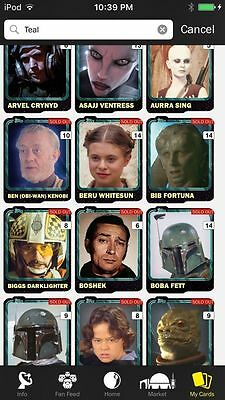 Topps Star Wars Digital Card Trader 126 Card Teal Variant Series 1/2 Lot