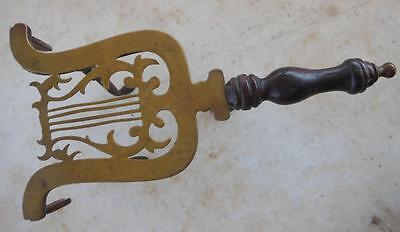 Antique 1880's  Brass Lyre Victorian Trivet Party Decor Table W/ Wooden Handle