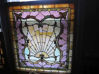 c.1890 Antique Stained Glass Window with Sunrise, original frame, 16 jewels