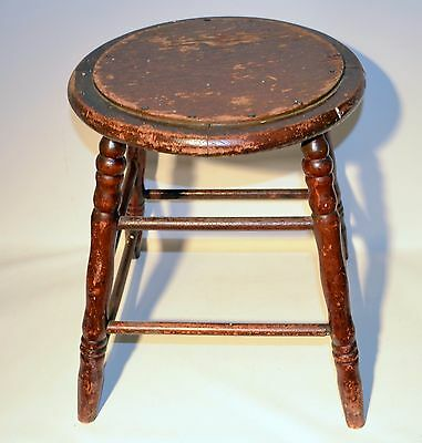 Antique Wooden Round School Bench Piano Bench Sitting Seat