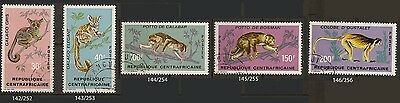 Central African Republic 1971 Primates complete set of 5  -cancelled - Sc 142-46