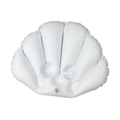 SHELL SHAPE BATH Pillow Terrycloth Vinyl Covering Inflatable White Bath Pillows