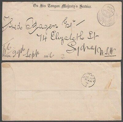 Tonga 1896 Ohtms Official Envelope To Sydney (Id:243/qw250)