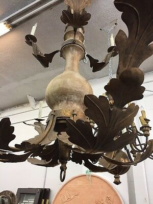 Spanish Revival Spanish Mediterranean Style Wood And Iron 5' Chandelier