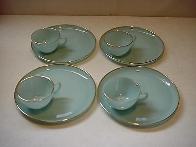 Fire King Turquoise Blue 22K Gold 8 Piece Snack Set