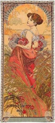 "New 40"" X 18"" Alphonse Mucha Seasons ""summer"" Belgian Tapestry Wall Hanging 16G"