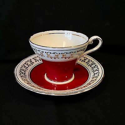 AYNSLEY CORSET Maroon on Cream with Gold Accents TEACUP & SAUCER