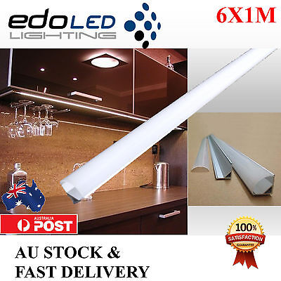 6X1M Corner Alloy channel Aluminium bar for Led Strip Light Cabinet Kitchen