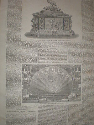 New balloon of Henry Coxwell at Crystal Palace London 1864 old print