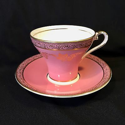 AYNSLEY CORSET Deep Rose and Cream with Gold Accents TEACUP & SAUCER