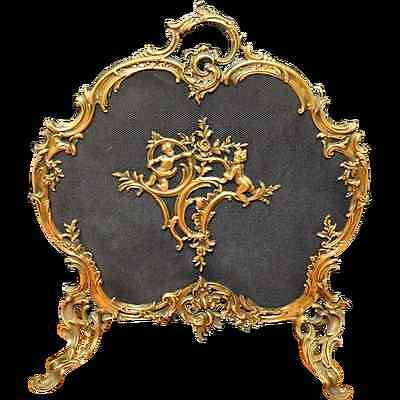 Antique French Rococo Brass Fire Screen with Putti c. 1900