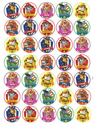 35 x Paw Patrol Edible Rice/Wafer Cupcake toppers