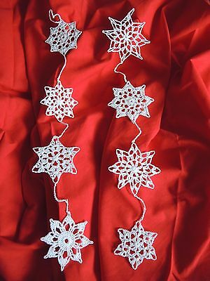Hand Crochet 8 Snowflakes in Chains Christmas Winter Home/ Window Decoration 20""
