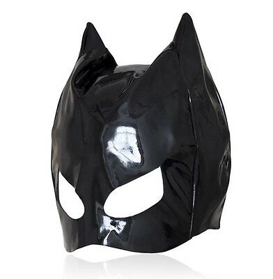 Shinning PVC Look Head Hood Eyes Open Dungeon Party Black Cat Superman Mask