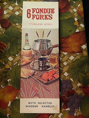 Set Of 6 Nib Stainless Steel Fondue Forks - Wooden Handles - Very Nice - #23980