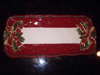 "FITZ And FLOYD  Damask Holiday Tray 13"" EUC"
