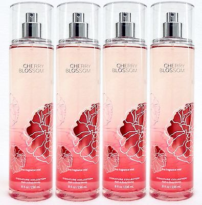 4 Bath & Body Works CHERRY BLOSSOM Fine Fragrance Body Mist Spray