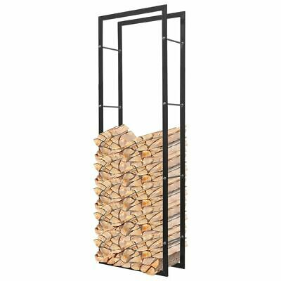 Firewood Log Rack Rectangular Tall Fireplace Stand Holder Storage Support Steel