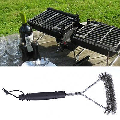 Stainless Steel BBQ Wire Grill Brush Hoom Barbecue Triangle Cleaning Tool