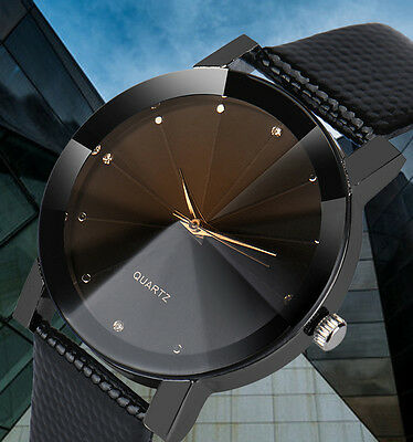 Luxury Military Stainless Steel Dial Leather Band Quartz Sport Men's Wrist Watch