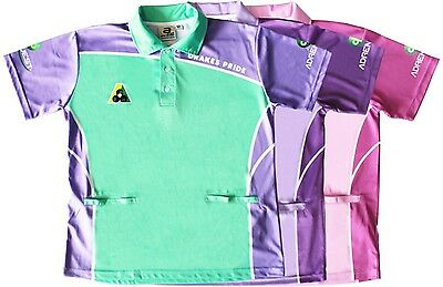 Lawn Bowls Women's Sublimated Polo Shirts Pink Purple Green Two Tone Ba Logo New