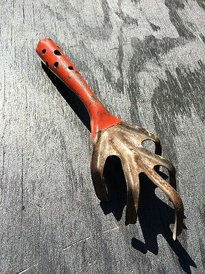 "Vintage 10"" orange garden tool hand rake claw digger metal rustic primitive  old"