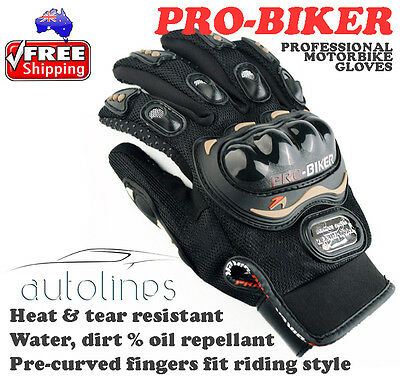 PRO-BIKER Pro Motorbike Racing Leather Gloves Bike Riding Cycling Sport Size L