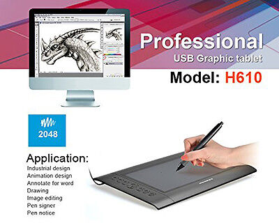 "New Huion-H610 10x6.25"" USB Art Graphics Drawing Tablet Pad Cordless +Pen Hotkey"