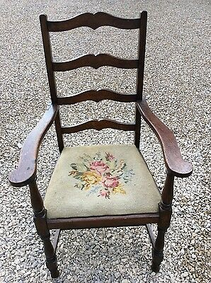 Lge Antique Farmhouse Oak Ladderback Carver Armchair tapestry seat.  Upholstery