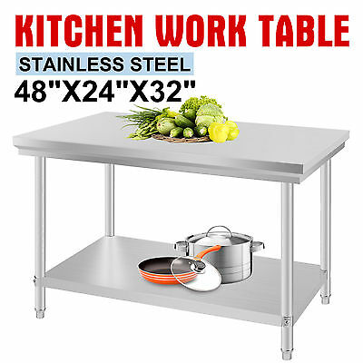 610mm x 1219mm New Stainless Steel Kitchen Work Bench Food Prep Catering Table