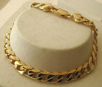 GENUINE SOLID  9K  9ct YELLOW Gold PATTERNED FLAT CURB BRACELET 19 cm