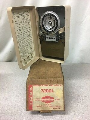 NEW OLD STOCK Tork 7200L Reserve Power Time Switch 40A 120V Double Pole