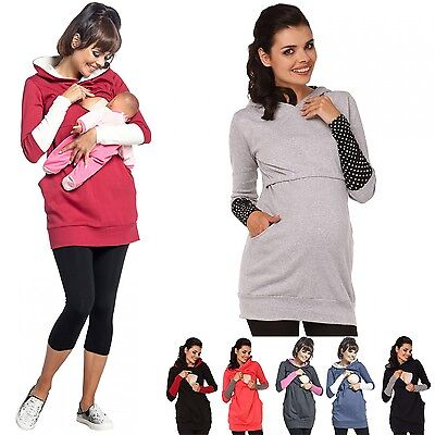 Maternity Clothes Long Sleeve Winter Warm Breastfeeding Nursing Tops Hoodie TOP