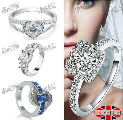 Women Size 7 8 9 Silver Crystal White Gold Engagement Ring Jewelry Wedding UK