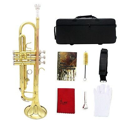 Trumpet Bb B Flat Copper Exquisite Golden with Mouthpiece Brush Cloth Bag