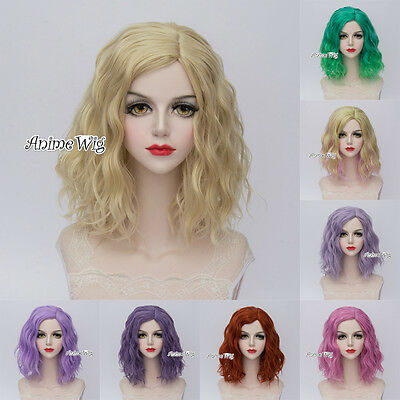 8 Colors Short Fashion 35CM Curly Fashion Party Women Cosplay Wig + Wig Cap