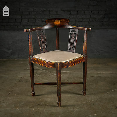 Edwardian Inlaid Hardwood Corner Chair