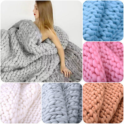 Fashion Chunky Hand Knitting Blanket Merino Wool Thick Line Photography Props
