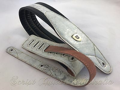 "Genuine Leather Soft Padded ""Metallic White Victorian"" Guitar Strap"