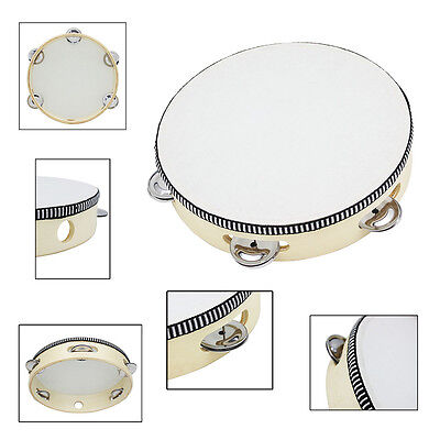 8 Inch Drum Tambourine Bell Birch Metal Jingles Toy Round Percussion