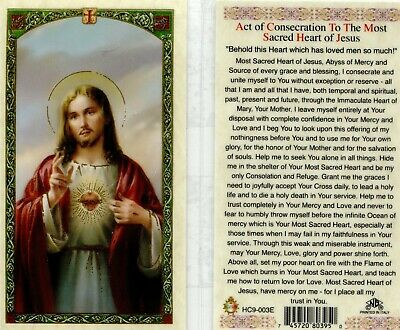 Sacred Heart Jesus Act of Consecration Catholic Laminated Prayer Card HC9-003E