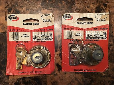 Pair Vintage NOS Corbin Door or Drawer lock with keys K 02068 1/2 USA made