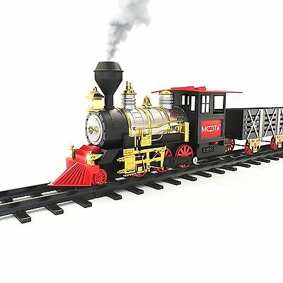 MOTA Classic Holiday XMAS Train Set with Real Smoke Authentic Lights and Sounds!