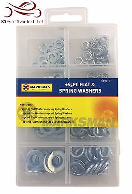 165Pc Flat & Spring Washers Set - Box Case Diy Assorted Washer Stainless Steel