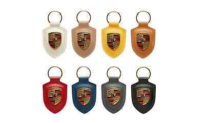 Genuine Porsche Crest Keyring Key Chain Leather Multiple Colors